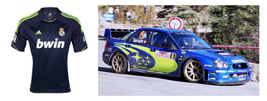 real madrid 2012-13 away shirt and 2005 subaru impreza wrx rally car