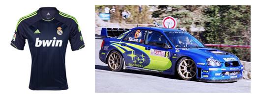 real madrid 2012-13 away shirt and 2005 subaru impreza wrx rally car