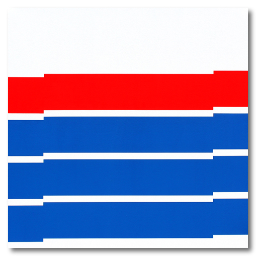 white red and blue minimalist painting